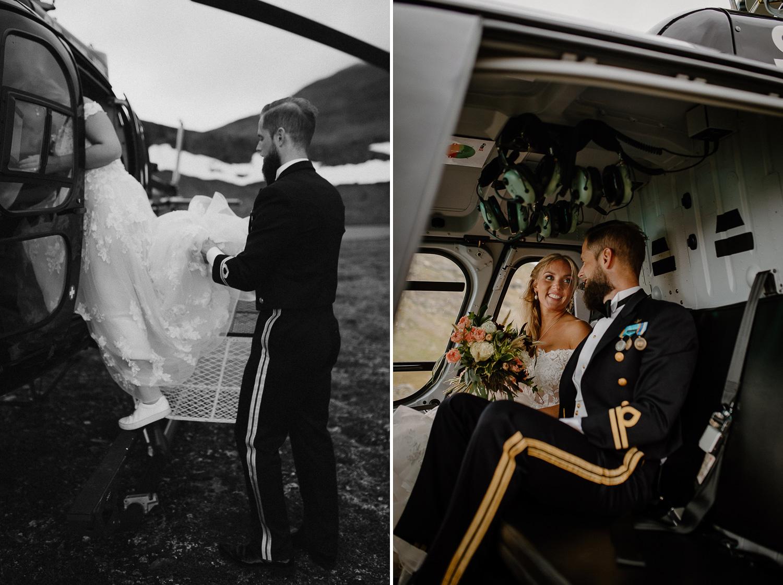 Brudpar i helikopter på Skarsfjället, Ramundberget