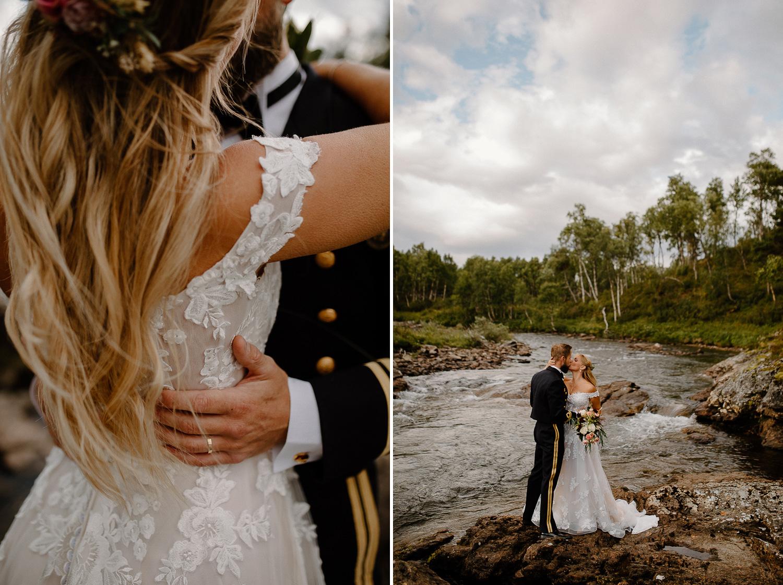 Bröllopsfotografering vid fjällmiljö vid Bruksvallarnas Fjällhotell, Ramundberget